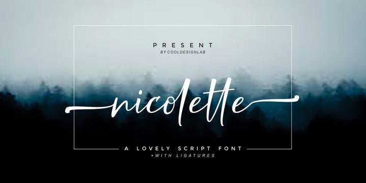 Nicolette连笔手写婚庆手绘签名英文字体下载