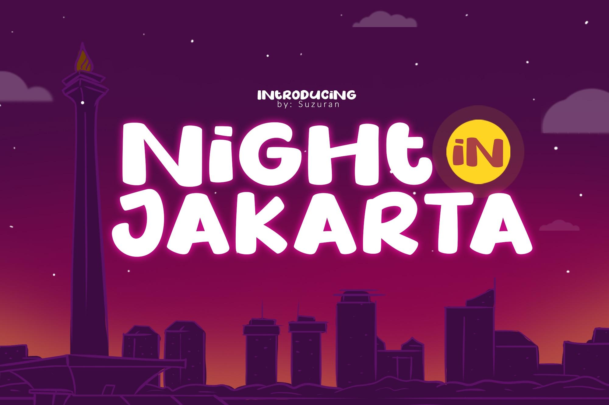 NightInJakarta可爱手写俏皮卡通海报英文字体下载