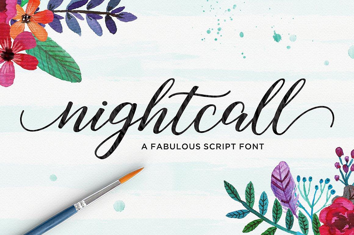 Nightcall水彩装饰插画海报英文字体下载