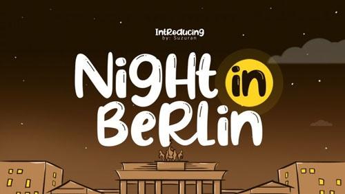 NightinBerlin卡通手绘电影海报英文字体下载