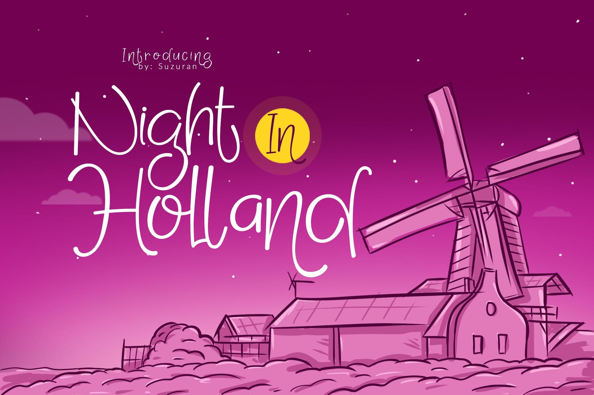 NightinHolland手绘海报可爱俏皮英文字体下载