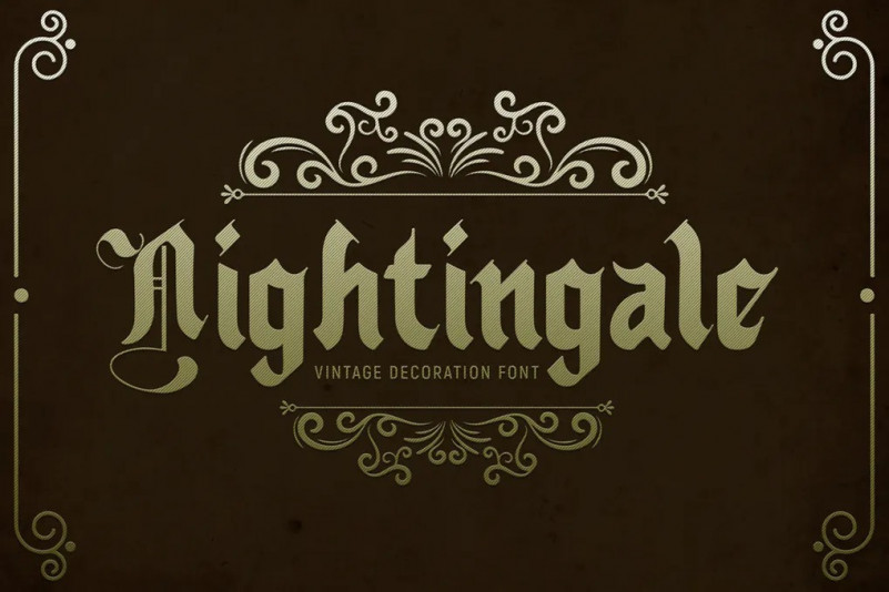 Nightingale哥特个性奇卡诺纹身英文字体下载
