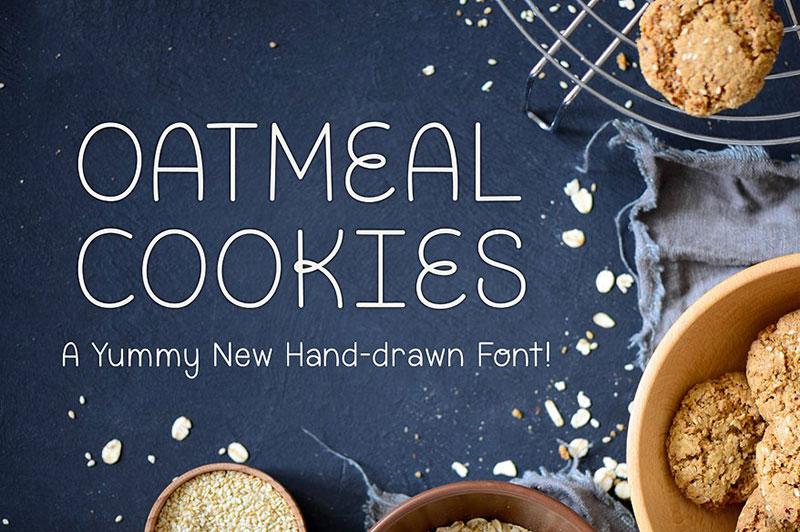 OatmealCookie美食海报创意圆润英文字体下载