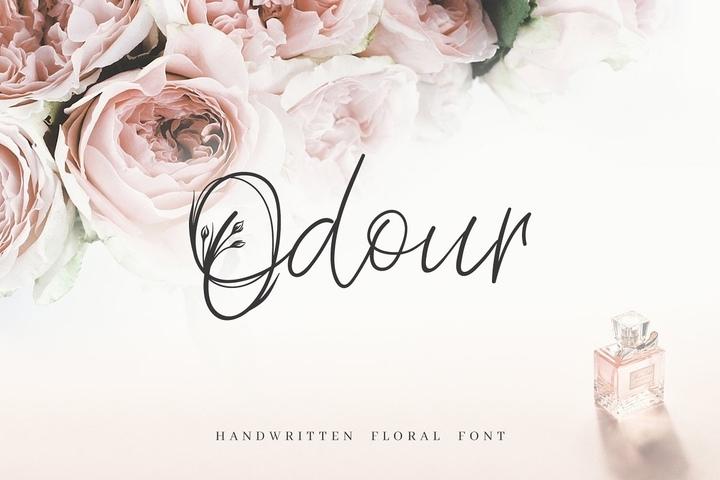 Odour个性创意手写花卉英文字体下载