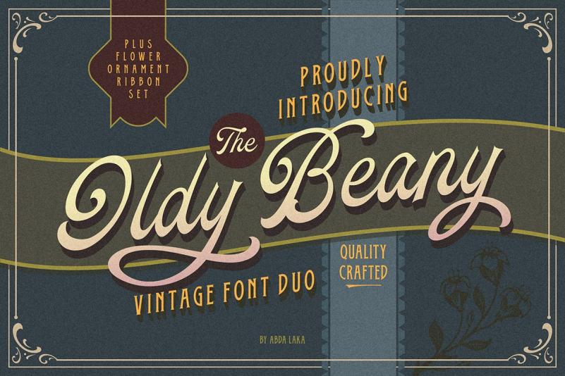 Oldy Beany复古手写logo连笔英文字体下载