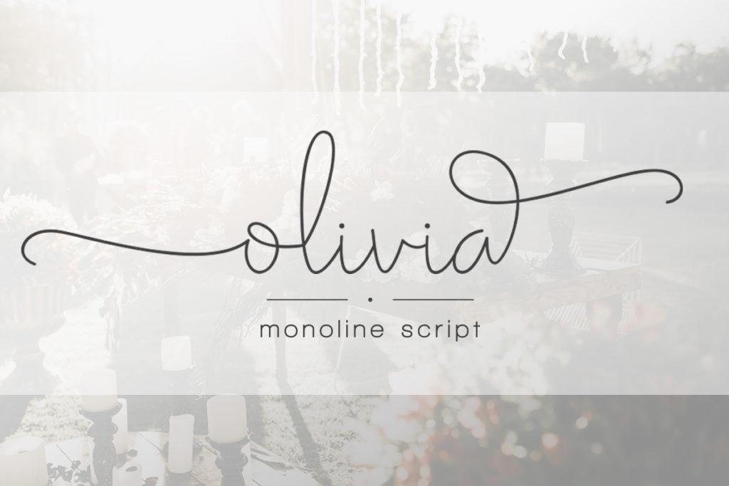 Olivia手写纤细签名连笔网红ins英文字体下载