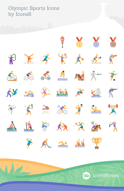 奥林匹克运动会运动项目图标插画icon下载