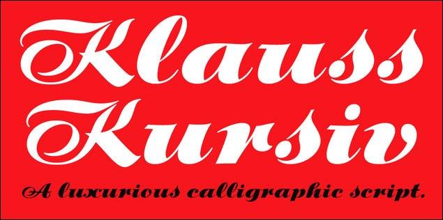 P22KlaussKursiv手写花体经典奢华英文字体下载