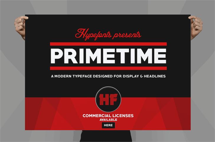 PRIMETIME商务海报主题logo设计英文字体下载