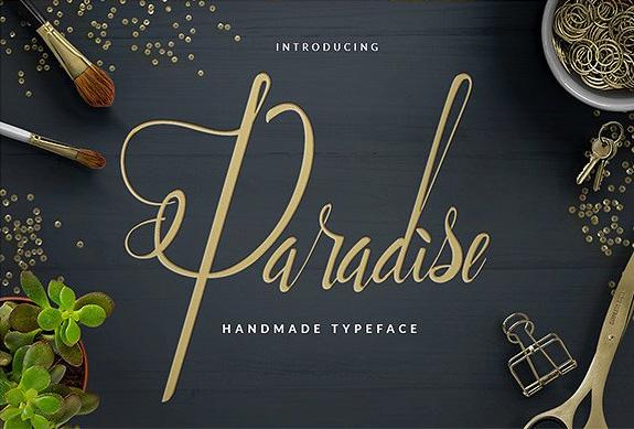 Paradise手写婚礼花体英文圆体字体下载