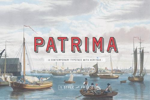 Patrima现代3d立体字英文字体下载