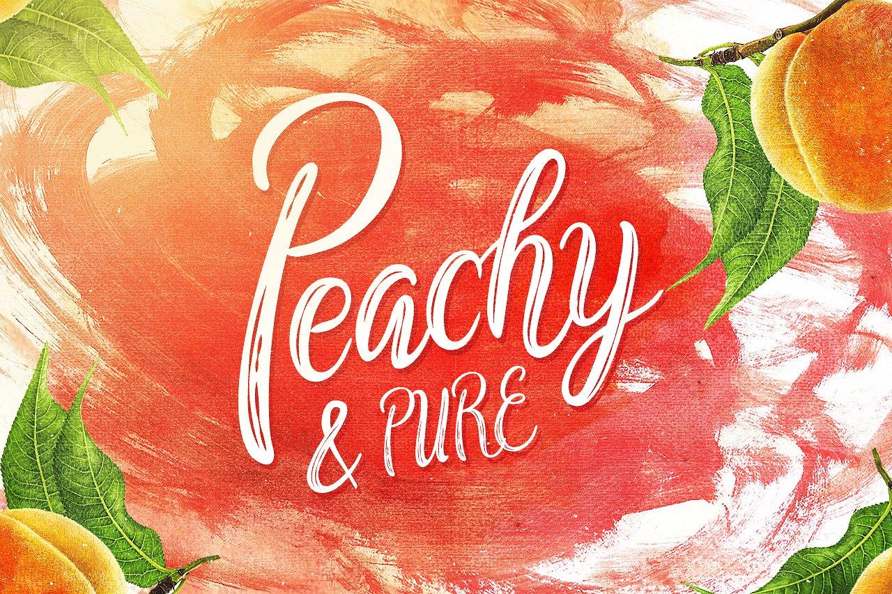 PeachyPure果汁饮料包装海报手绘英文字体下载