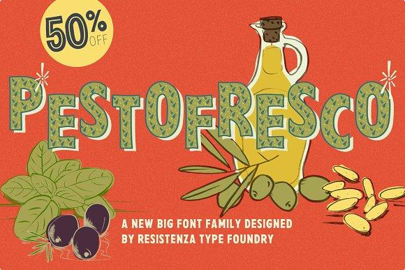 PestoFresco手绘插画海报趣味英文字体下载