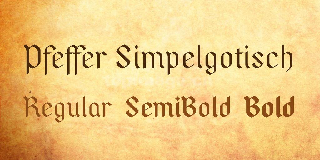 PfefferSimpelgotisch复古哥特式个性异形简约艺术英文字体下载