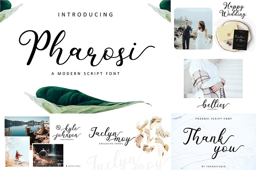 Pharosi连笔花体手写婚礼logo英文字体下载