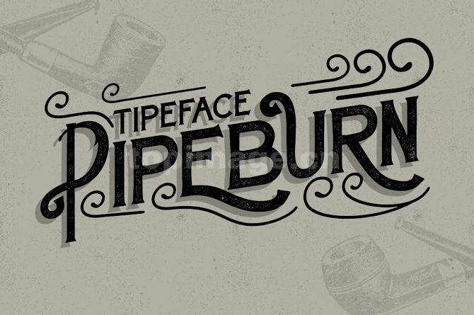 Pipeburn复古连笔飘逸个性斑驳质感艺术英文字体下载