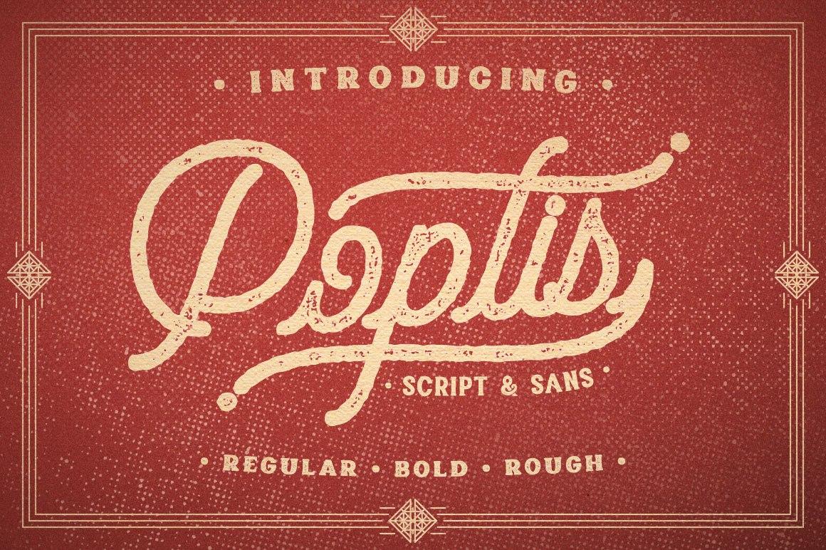 Poptis复古破损肌理连笔英文字体下载