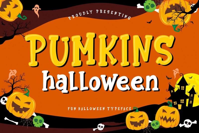 Pumkins Halloween万圣节卡通搞怪英文字体下载