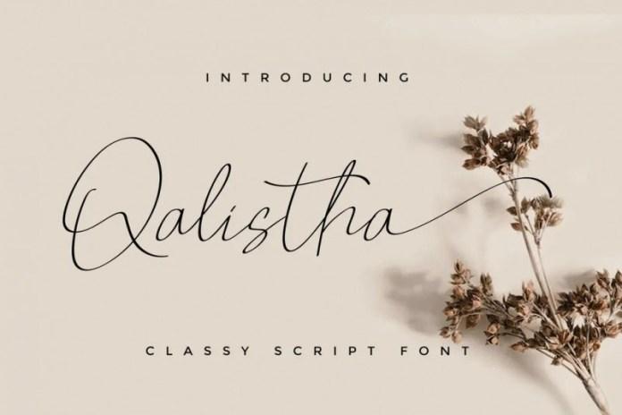 Qalistha手写连笔极细签名英文字体下载