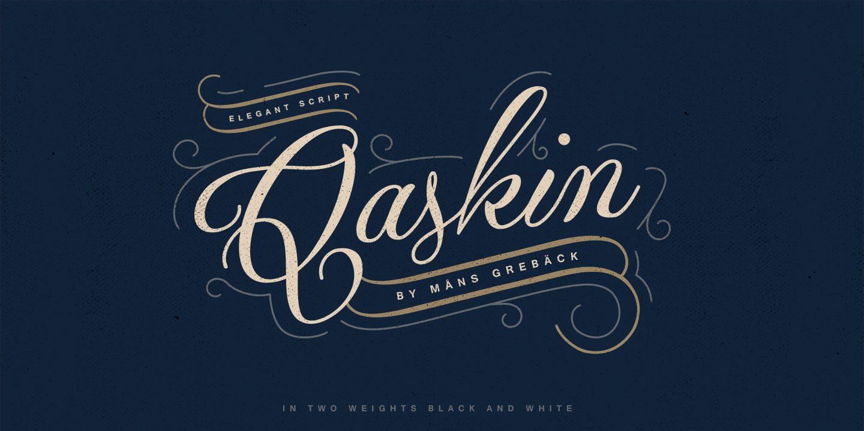 Qaskin欧式复古花纹海报手写英文字体下载