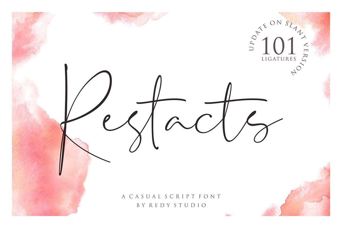 RESTACTS极细签名艺术连笔手写英文字体下载