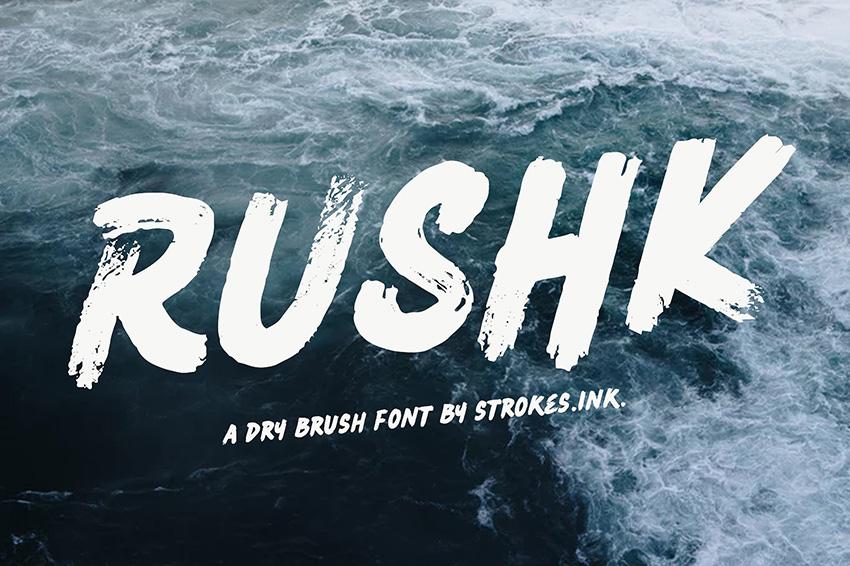 RUSHK笔触笔刷书法手写英文字体下载