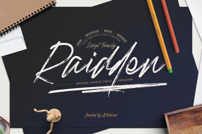 Raidden书法笔触手写大气英文字体下载