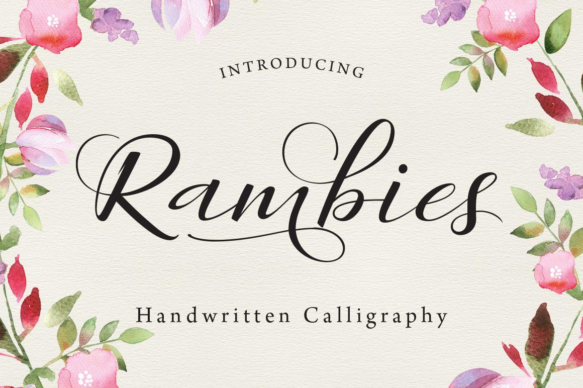 Rambies婚纱摄影文艺彩绘海报花式英文字体下载
