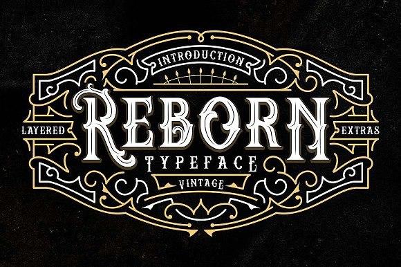 Reborn欧式徽章logo设计哥特英文字体下载