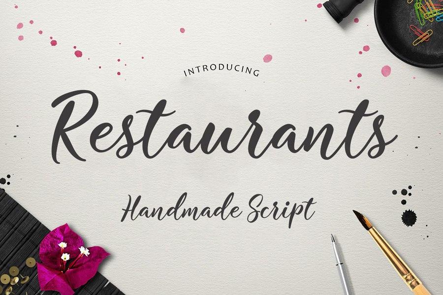 Restaurants手写书法创意海报英文字体下载