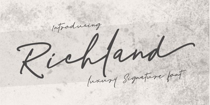 Richland手写手绘连笔签名艺术英文字体下载