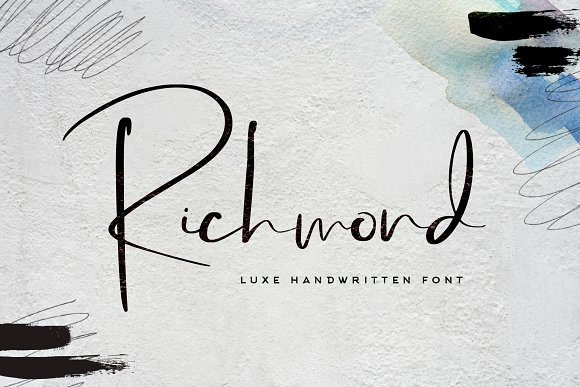 Richmond水墨手绘手写书法英文字体下载