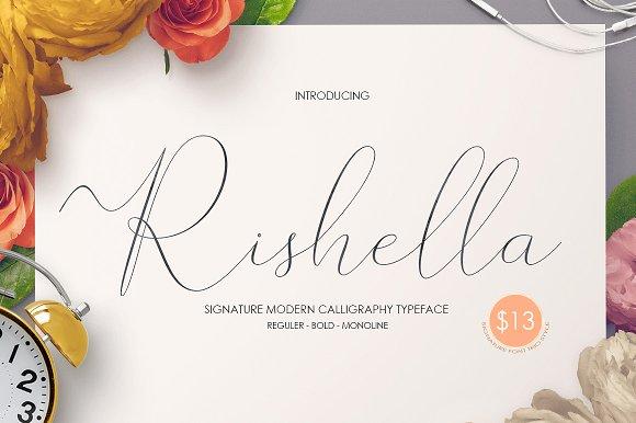 Rishella手写连笔飘逸婚礼英文字体下载