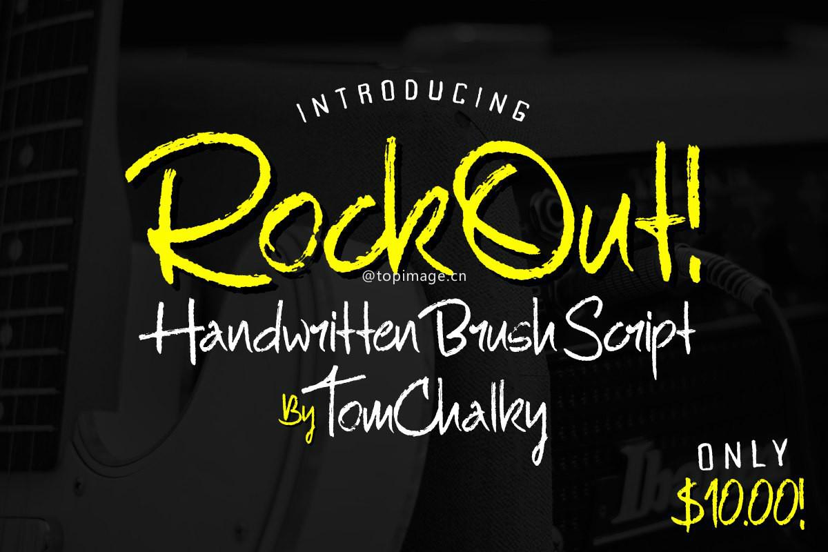RockOut涂鸦恐怖影视海报手写英文字体下载