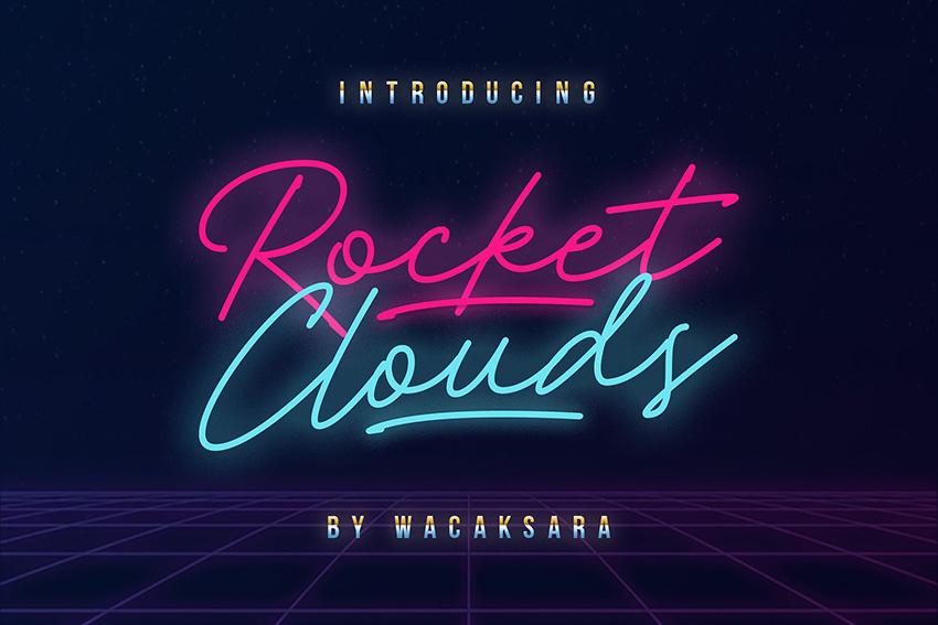 Rocket Clouds连笔极细手写霓虹灯英文字体下载