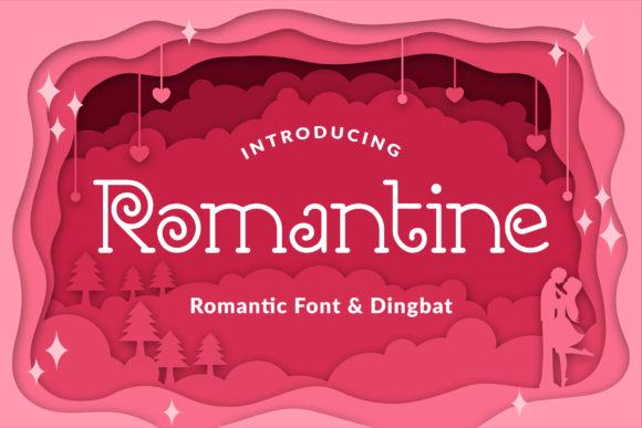 Romantine浪漫爱心婚礼logo线条英文字体下载