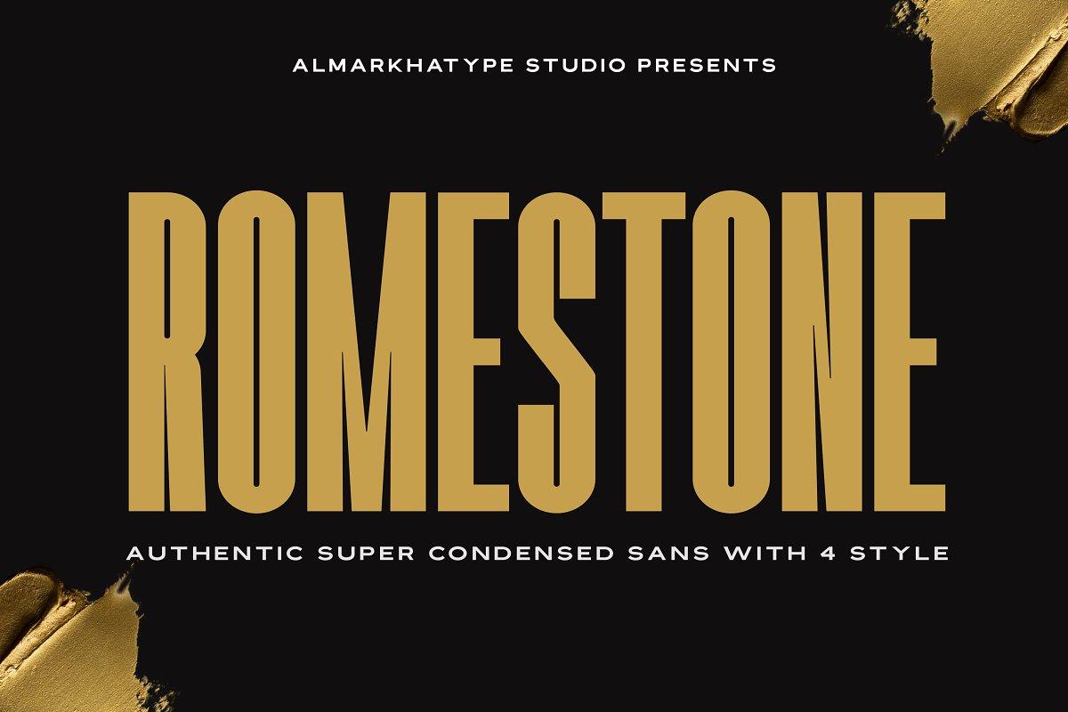 Romestone现代无衬线logo设计英文字体下载