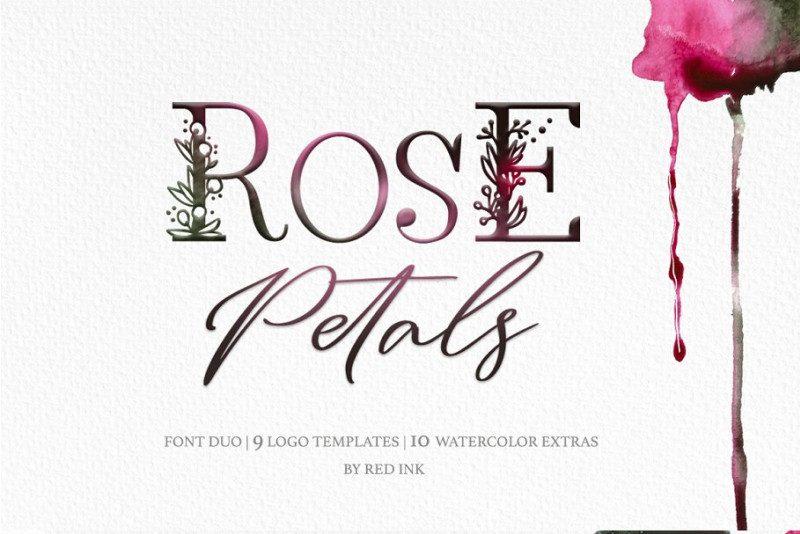 Rose Petals手绘创意花卉图案英文字体下载