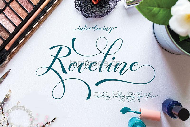 Roveline飘逸婚纱摄影海报花式英文字体下载