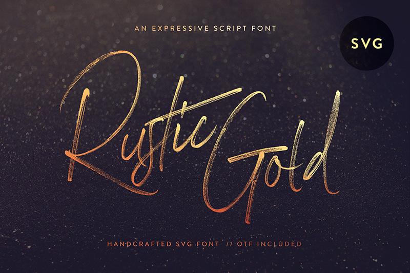 Rustic Gold 大气书法笔触svg英文字体下载