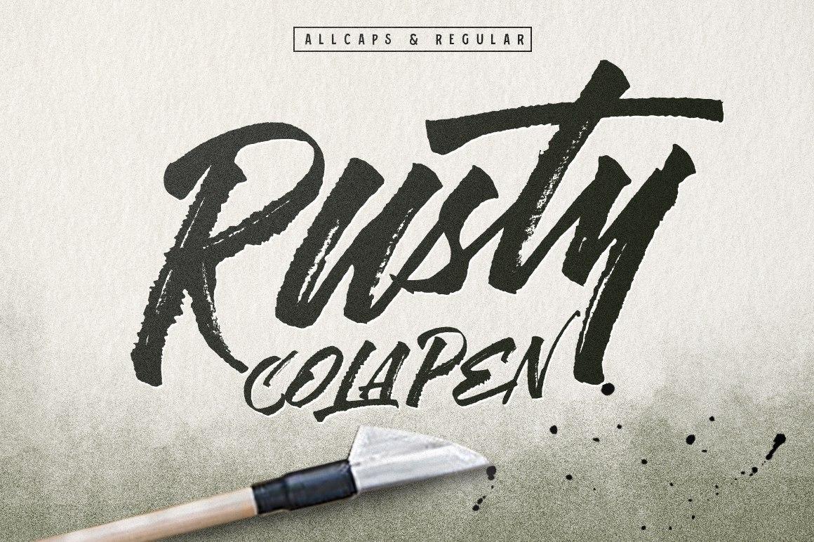 RustyColaPen手写连笔肌理工艺海报英文字体下载
