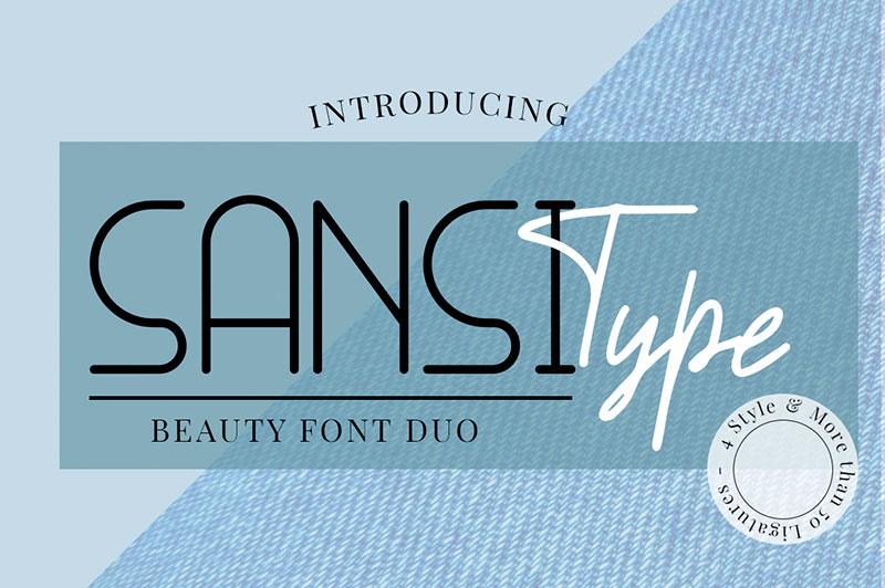 SANSI BoldItalic 无衬线简约造型英文字体下载