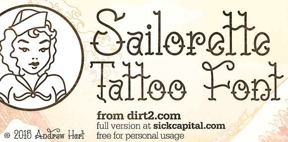 SailoretteTattoo飘逸纤细个性化卡通海报英文字体下载