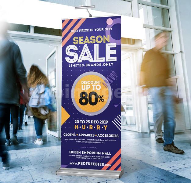 易拉宝展架商场促销海报模板psd孟菲斯平面排版设计源文件下载