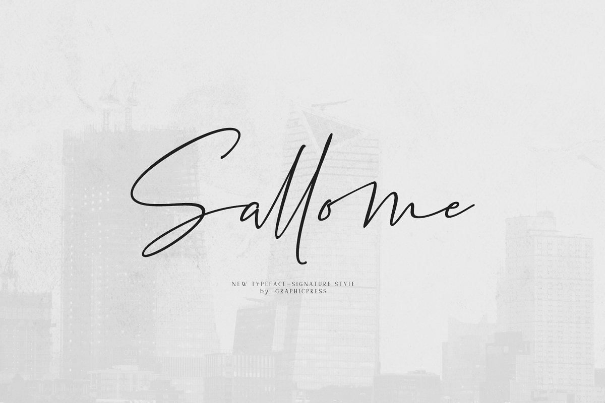 Sallome手写ins网红签名英文文艺字体下载