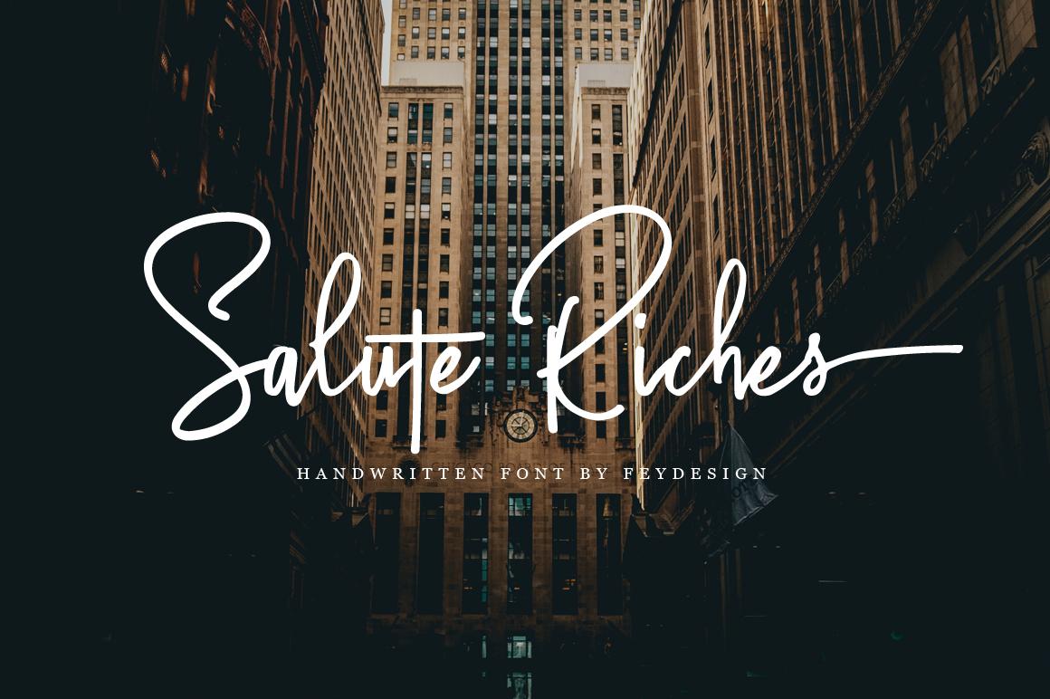 Salute Riches 手写手绘连笔英文字体下载