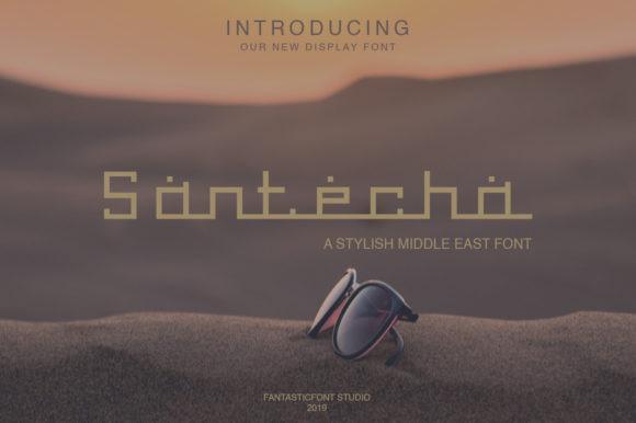Santecha现代无衬线创意logo设计英文字体下载