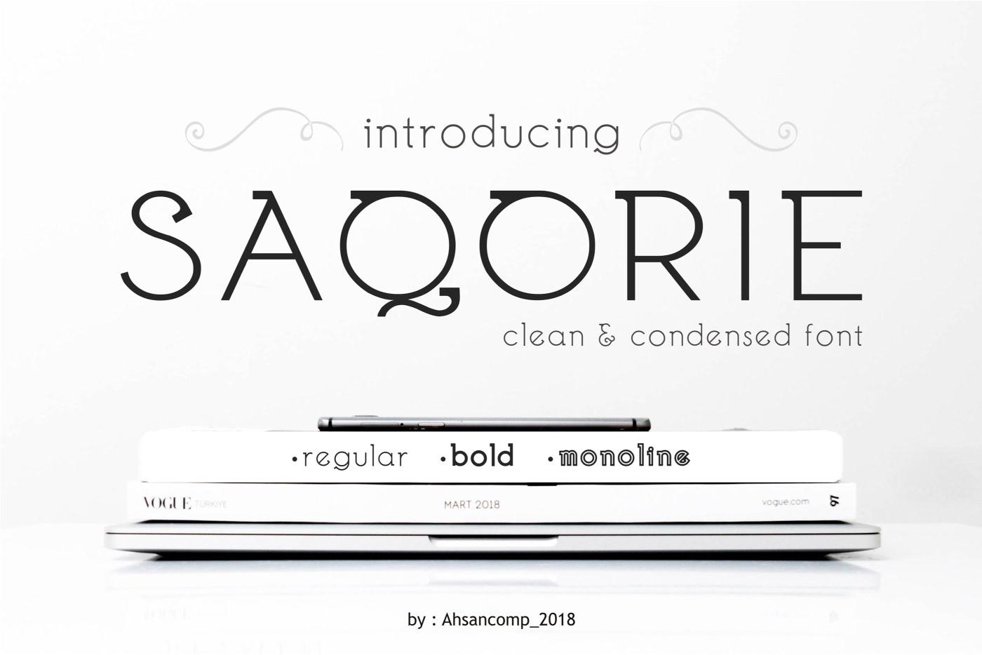 Saqorie创意logo设计现代艺术英文字体下载