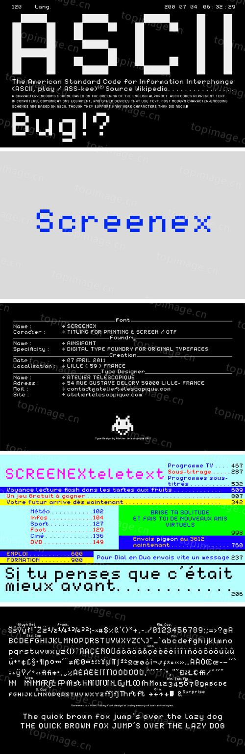 Screenex像素老式屏幕马赛克格子英文字体下载