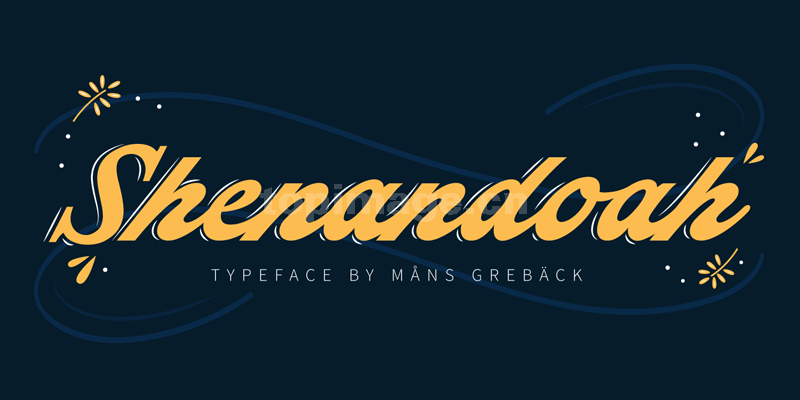 Shenandoah连笔好看的书法手写复古艺术英文字体下载